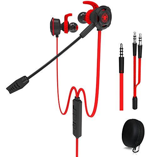 Wired Gaming Earphone con microfono regolabile per PS4, Xbox, computer portatile, cellulare, DLAND E-sport Auricolari con borse portatili, Design morbido(rosso)