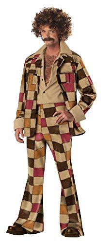 shoperama 70er Jahre Vintage Discostar Herren Kostüm mit Flickenmuster Retro Schlaghose Anzug, Größe:M