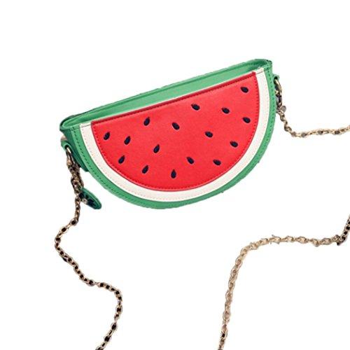 Cute Lovely Früchte Muster Federmäppchen Tasche Süße Sommer Wassermelone Schultertasche Mode Kreative Modellieren Design Make up Bag Messenger Kette Bag Umhängetasche (Grün) - Frucht Frauen