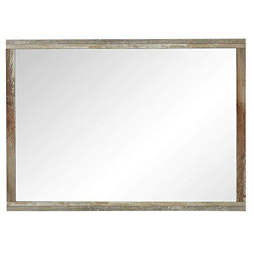 Bonanza Vintage Wandspiegel in Driftwood Optik - hochwertiger, pflegeleichter Spiegel für Flur & Garderobe - 98 x 70 x 2 cm (B/H/T)