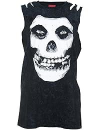 Ultrakult Womens Black Acid Was Misfits Skull Slash Shoulder T Shirt from
