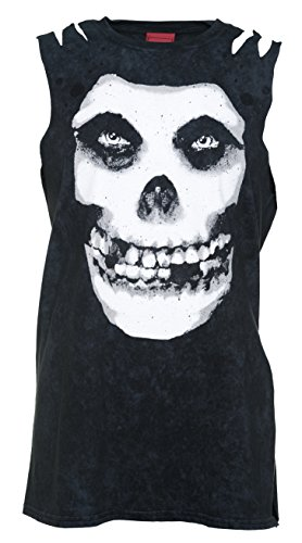 Womens Black Acid Was Misfits Skull Slash Shoulder T Shirt from Ultrakult (Skull T-shirt Slash)