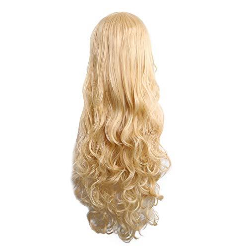 Zolimx Mode Cosplay Perücke 80cm Frauen Hitzebeständige Haare Blonde Lange Lockige Volle Perücken -
