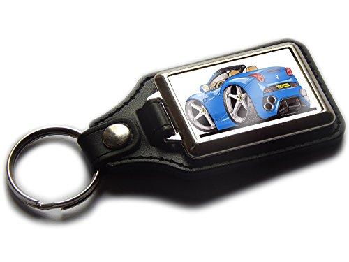Ferrari California hinten-Sportwagens Premium Koolart Leder und Chrom Schlüsselanhänger wählen Sie eine Farbe., blau