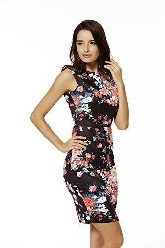 Jc.Kube Damen Kleid Ärmellose Blumendruck Bodycon Bandage Stretch Kleid Minikleid Schwarz