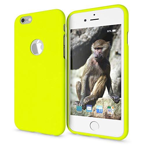 NALIA Handyhülle kompatibel mit iPhone 6 6s, Ultra-Slim TPU Silikon Neon Case, Dünnes Cover Gummi Schutzhülle Skin, Etui Handy-Tasche Backcover Smartphone Bumper, Farbe:Gelb (Iphone 6-cover Ultra Slim)