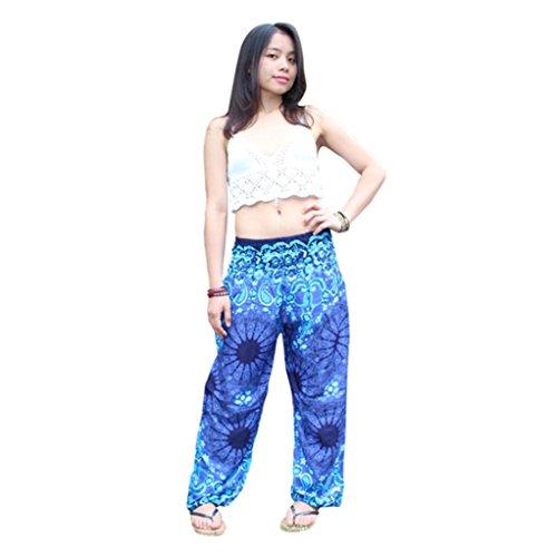 Damen Festival Haremshose Yoga Hosen,LUCKDE Elastic Freizeit Fitness Pilates Sport Training Tanzen Atmungsaktiv schnell trocknend Miederpants Leggings Lange Stretch Hose Sportbekleidung (Blau) (Womans Under Armour-yoga-hosen)