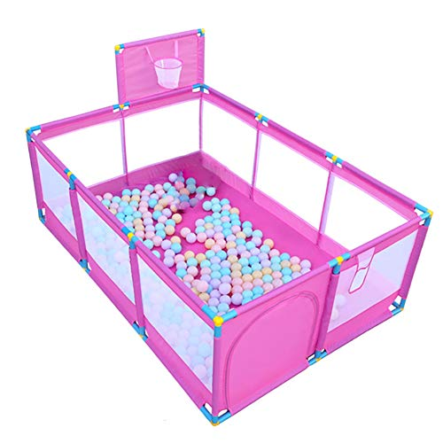 Pink Large Baby Playpen - Portable Infant Toddler Security Fance ,10-Panel Twins Ocean Ball Pool (Size : Playpen+200ball)  BSNOWF