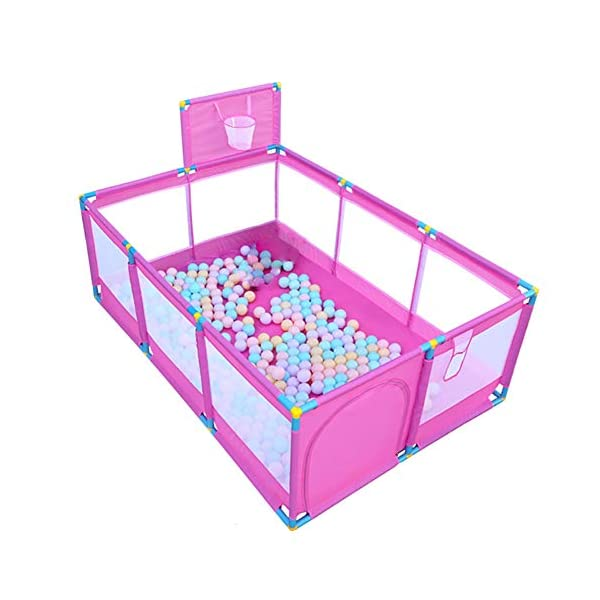 Pink Large Baby Playpen - Portable Infant Toddler Security Fance ,10-Panel Twins Ocean Ball Pool (Size : Playpen+200ball) Playpens  1