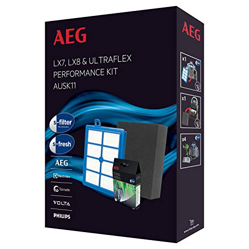 AEG AUSK11 Performance Kit für LX7, LX8 (1 Allergy Plus Filter, 1 Feinstaubfilter EF129, waschbar, 4er Pack s-fresh Duftgranulat, verbesserte Saugleistung, passgenau, blau/grau)