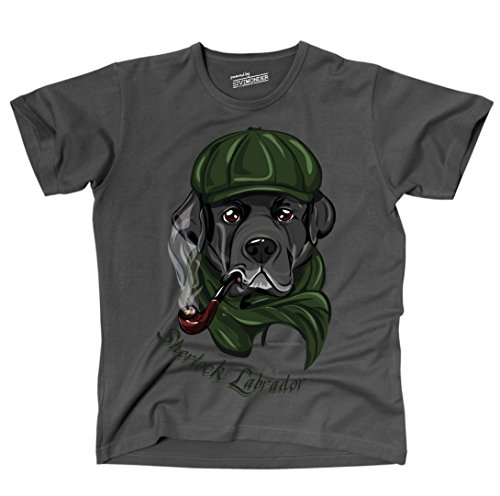 Siviwonder Unisex T-Shirt LABRADOR LUSTIG FUN Hunde Dark Grey