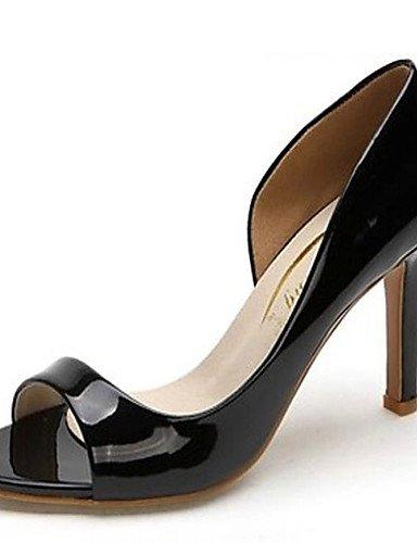 WSS 2016 Chaussures Femme-Mariage / Bureau & Travail / Habillé / Soirée & Evénement-Noir / Blanc-Talon Aiguille-Talons / Bout Ouvert / Styles- black-us8 / eu39 / uk6 / cn39