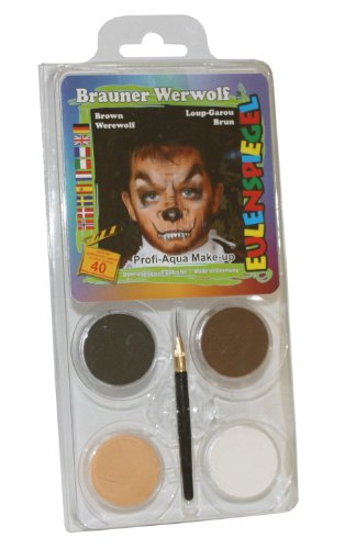 Eulenspiegel 204702 Schminkset brauner Werwolf, Pinsel und Anleitung, 4 Farben (Grau Werwolf Kinder Kostüm)