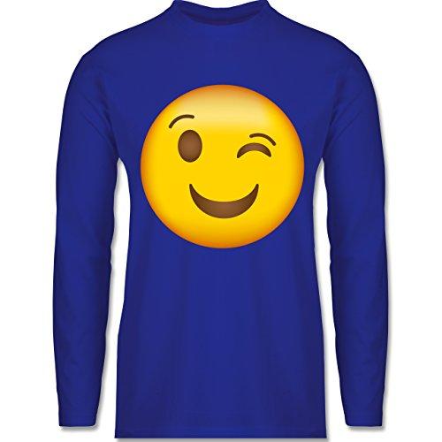 Shirtracer Comic Shirts - Zwinker Emoji - Herren Langarmshirt Royalblau