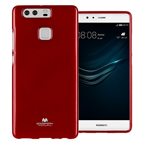 Mercury Marlang Marlang Huawei P9 Hülle/Gratis Displayschutzfolie [Slim Fit] TPU Case [Flexible] Pearl Jelly [Schutz] Bumper Cover für Huawei P9, rot Verizon Wireless Pearl