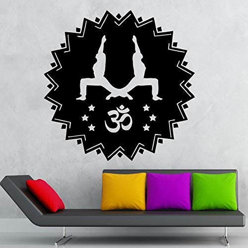 yaoxingfu Yoga Club Sticke Tai Chi Decal Poster Om Vinyl Stickers murali Pegatina Quadro Parede Decor Murale Yoga Sticker Bianco 116x116cm