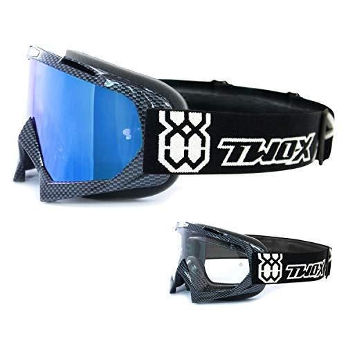 TWO-X Race Crossbrille Carbon Glas verspiegelt blau MX Brille Motocross Enduro Spiegelglas Motorradbrille Anti Scratch MX Schutzbrille