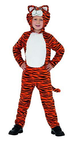 Luxuspiraten - Kinder Jungen Mädchen Kostüm Plüsch Tiger Fell Einteiler Onesie Overall Jumpsuit, perfekt für Karneval, Fasching und Fastnacht, 140-152, Orange
