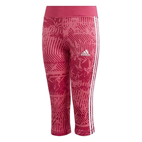 adidas Kinder Training Equipment 3-Stripes 3/4 Strumpfhose, Semi Solar Pink/Real Magenta/White, 116 Coupe Jersey