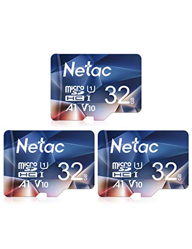 Netac Carte mémoire microSDHC, Lot de 3 32G Haute Vitesse UHS-I Carte Micro SD jusqu'à 90MB/S, A1, U1, C10, V10, FHD, 600X Carte TF pour Drone/Dash Cam/Camera/Phone/Nintendo-Switch/PC/Tablette