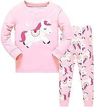 HommyFine Pijamas de Manga Larga para niñas, Niña Pijamas Conjunto Algodón Dos Piezas, Pijamas para niñas Unic