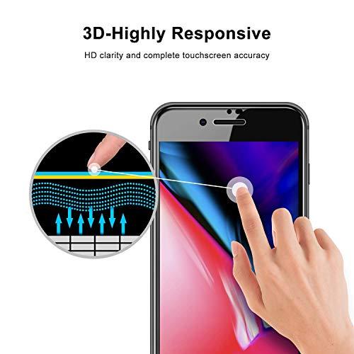 Fozalla iPhone 7/8 Protection Ecran Verre Trempé Protecteur [ Lot de 2 ], 3D Couverture Complète, Anti-Rayures, Haut Définition, sans Bulle d'air