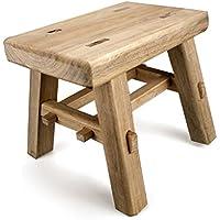 Kampfer Holz kleine Bank feste Holzbank Zapfen Zwerg Hocker Höhe 25 cm, Länge 30 cm, Breite 20 cm