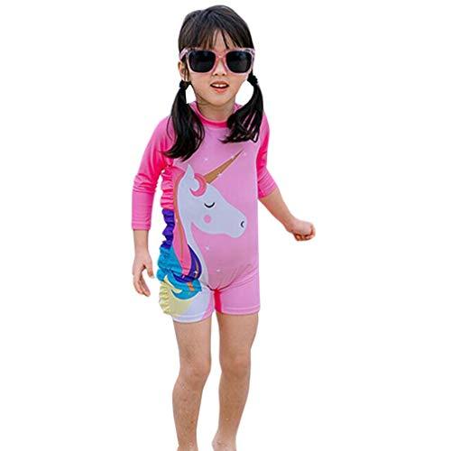 Wetry Einteiliger Badeanzug Mädchen Schwimmanzug Kinder UV Badekleidung Einhorn Schwimmbekleidung Baby Bademode Strand Kleidung/100