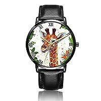 Aangepaste Giraffe Palmboom Polshorloge Unisex Analoge Quartz Mode Zwart Lederen Armband Polshorloge voor Vrouwen en Mannen