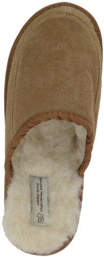 Unisex Hausschuhe, Wildleder, Mules, komplett mit Wolle gefüttert und mit harter Sohle von Bushga (braun oder Camel) Camel