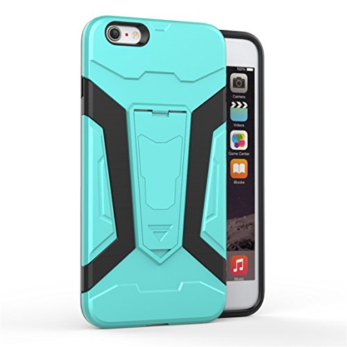 Apple iPhone 6 Plus/6S Plus 5.5 Coque, Voguecase [Armure Series] 2 in 1 Shockproof Hybrid Doux TPU and Hard PC Rugged Protective Rigide Plastique Shell Housse Coque Étui Avec Built-in KickSupporter(Ma Vert