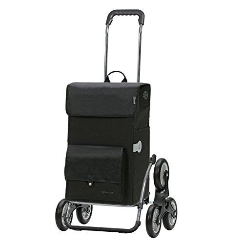 Andersen Einkaufstrolley Royal als Treppensteiger und 45 Liter Einkaufstasche Asta Schwarz mit Kühlfach Einkaufswagen Stahlgestell klappbar