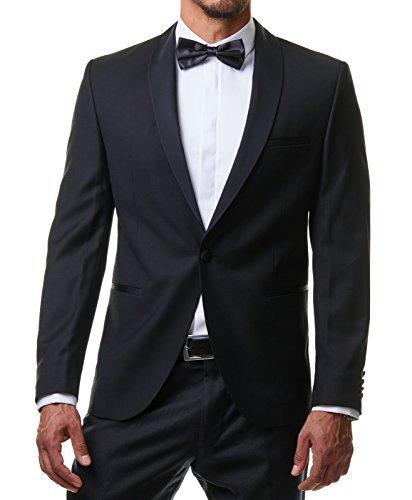 Paco Romano Herren Hemd Smoking Anzug Klassik Business Langarm mit Fliege & Manschettenknöpfe Bügelleicht Hochzeit Feier Premium Cotton Slim Fit Shirt PR6615 Weiß