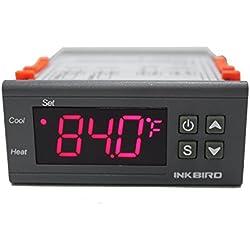 Inkbird ITC-1000 Thermostat Numérique à Double Relais 12V,Controleur Température avec Sonde,pour Compresseur Voiture,Pompe à Eau,Aquarium,Incubateur de 12-24V