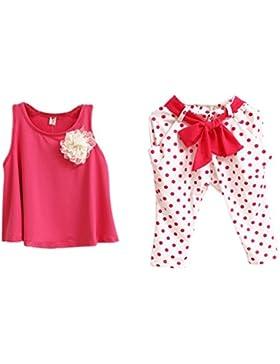 Amlaiworld Baby Girl Fiore Vest + Dot pantaloni