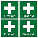 PACK OF 4 FIRST AID HELMET STICKERS 50X50mm Self Adhesive