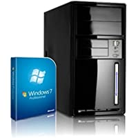 Shinobee PC Unité centrale pour ordinateur de bureau (Processeur Intel- Quad-Core - 4x2GHz, 2.41GHz en mode turbo - 500Go SATA3 - Intel HD Graphics - Mémoire RAM 8Go -- Windows7 Pro 64 Bit -- Lecteur graveur DVD - HDMI, VGA - USB 3.0) #4874