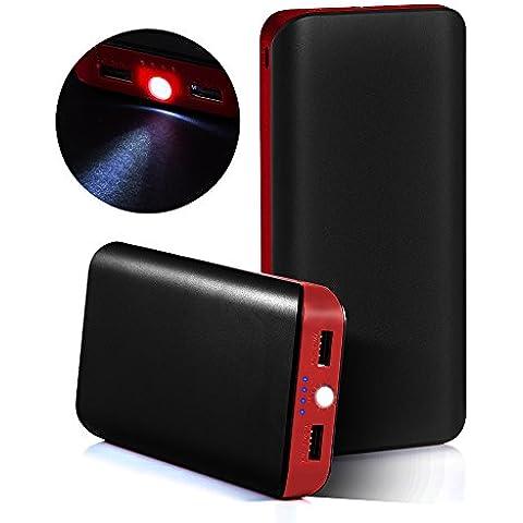 GRDE® 25000mAh Cargador Portátil, Ultra Alta Capacidad Batería Externa 2 USB Puertos Powerbank con Linterna para iPhone, iPad, Samsung, HTC, LG, Nexus