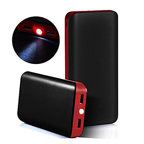GRDE® 25000mAh Ultra High Capacity 2 USB Port Portable Charger Power Bank ,External Battery Backup Pack with a Flashlight for iPhone,iPad,Samsung,HTC,LG,Nexus,Most other Phones & Tablets (Black- Red)