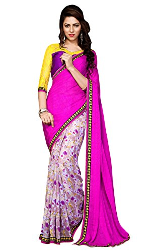 Pink Georgette and Jacquard Sarees With Blouse
