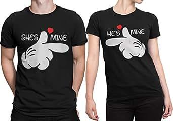 Dressify Couple Tshirt - He's Mine She's Mine (Small, Black)