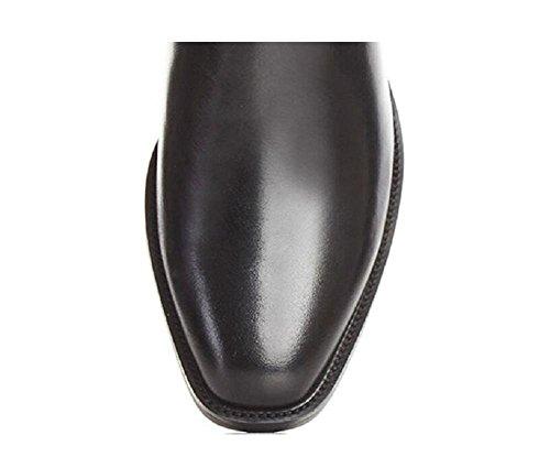 Belt Buckle a punta temperamento Rivet stivali di pelle decorata Stivaletti donne di stile britannico Tacchi spessi con Martin Boots , 36 36