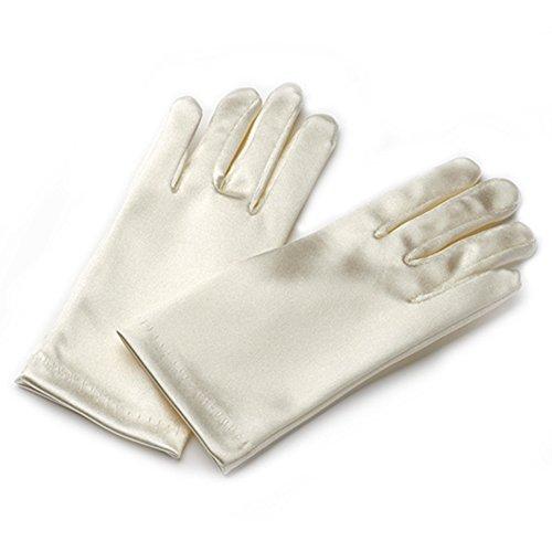 Flora Handschuhe mit kurzen Fingern, Satin, für Blumenmädchen Brautjungfer/Kinder kurze fingerhandschuhse, ideal für Taufe/Kommunion, Länge: bis zum Handgelenk, Beige