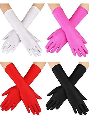 SATINIOR 4 Paar Prinzessin Handschuhe Lange Satin Handschuhe Verschiedene Farben Kostüm Handschuhe für Mädchen im Alter von 4 bis 9 Halloween Kostüm (Lange Handschuhe Kostüm)