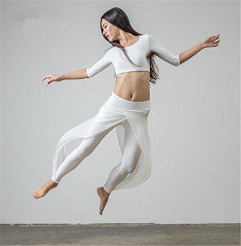 yoga - kleidung set / tanz training tragen / tops + hose / einfarbig , white