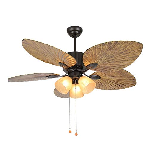 ZWS Stimmungsbeleuchtung Retro Deckenventilator Licht Frequenzumwandlung 5 Blatt Lüfter Kronleuchter Wohnzimmer Stille Deckenventilator E27 * 3 Innenbeleuchtung (Größe : 42 inches) -