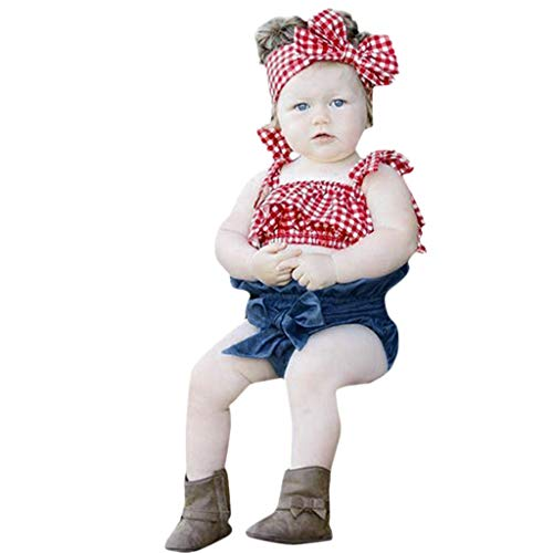 (JERFER Infant Baby Girls Sleeveless Plaid Sun-Tops+Denim Shorts+Headbands Outfits Set)