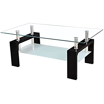 Home Discount Elise Rectangular Glass Coffee Table, Black - inexpensive UK coffee table shop.
