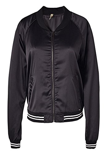 wantdo-femme-blouson-classique-bombardier-flight-zip-veste-noir-medium