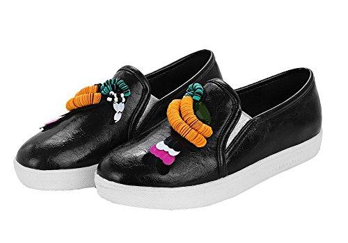 VogueZone009 Femme Tire à Talon Bas PU Cuir Couleur Unie Rond Chaussures Légeres Noir